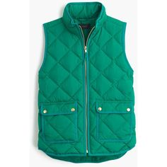 J.Crew Petite Excursion Quilted Down Vest ($160) ❤ liked on Polyvore featuring outerwear, vests, vest, petite, slim fit vest, green waistcoat, j.crew vest, quilted vest and down filled vest