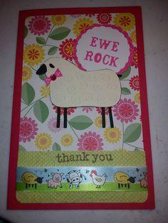 Ewe rock thank you card