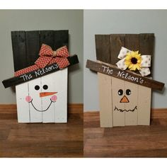 Scarecrow and Snowman wooden pallet by FaytheFilledBoutique