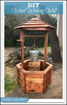 DIY Wishing Well: Free woodworking plans! - DIY Wishing Well: Free woodworking plans! Learn Woodworking, Woodworking Patterns, Popular Woodworking, Woodworking Projects, Woodworking Articles, Woodworking Bench, Woodworking Organization, Free Woodworking Plans, Woodworking Quotes