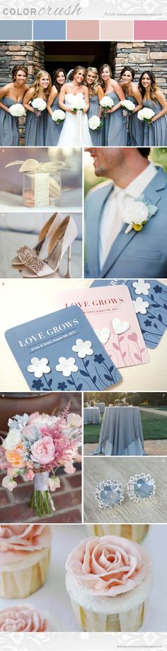 There are few colour combinations more romantic and stunning than dusty blue, blush and beige.