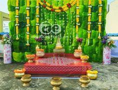 Naming Ceremony Decoration, Ceremony Decorations, Backdrop Decorations, Backdrops, Indian Wedding Stage, Leaf Decoration, Sixteenth Birthday, Half Saree, Kitchen Interior