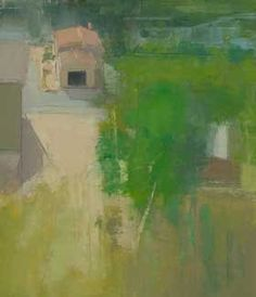 Stuart Shils blends atmospheric color effects with visual references to the physical world in this painting, Looking Down from Monte Castello, A Garage with an Open Door. All works by Stuart Shils.