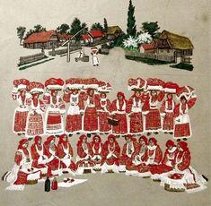 Croatia, Turopolje (turopoljska posavina), crtež izradila Zdenka Sertić, istaknuta hrvatska slikarica  Sveti Ivan Zelina, 16. siječnja 1899. - Zagreb, 19. prosinca 1986.