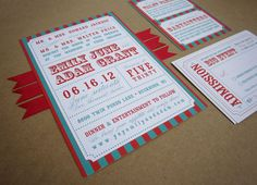 red and aqua carnival striped wedding invitation styled by k. austin