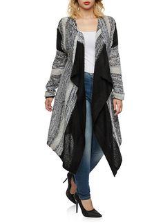 36316e8539c Plus Size Open Front Cardigan with Sharkbite Hem
