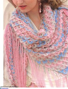 Flakes Shawl free crochet graph pattern