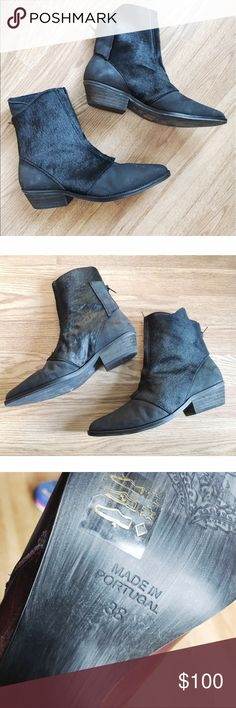 Free People Caldera Calf Hair Ankle Boot An exposed front zipper lends modern style to a Western-inspired bootie featuring a genuine calf hair upper and pointed toe. 👞These boots are kind of tight in the toe area. If you have wide feet, these will not work for you.  -Front zip closure.👢 -Leather and genuine calf hair (France) upper/leather lining/synthetic sole. 🔺This shoe has been tried on a few times in store & bottoms reflect it. Please see last photo.🔺 ❌NO TRADES❌ Free People Shoes…