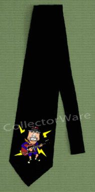 AC/DC Angus Young cartoon CUSTOM ART UNIQUE TIE   Each necktie is individually hand-painted, a true and unique work of art indeed!  To order this, or design your own custom tie, please contact us at info@collectorware.com, or visit http://www.collectorware.com/neckties-ac_dc.htm