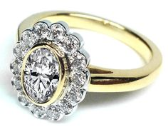 Oval Diamond Bezel Halo Engagement Ring in Yellow Gold - ES1194