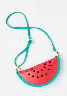 Forever Fruitful Bag. Your signature style is sure to endure when you top your high-waisted skinnies and tie-front top with this watermelon cross-body bag! #red #modcloth