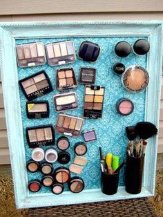 DIY Magnetic Makeup Board - 30 Brilliant Bathroom Organization and Storage DIY Solutions Perhaps on the back of a cupboard door??