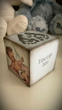 Personalised wooden baby block by LiziLoves on Etsy, £6.00