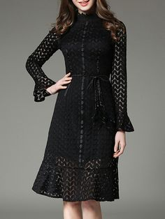 Black Belted Bell Sleeve Lace Dress sold by URBANE OUTFITTERS. Shop more products from URBANE OUTFITTERS on Storenvy, the home of independent small businesses all over the world.