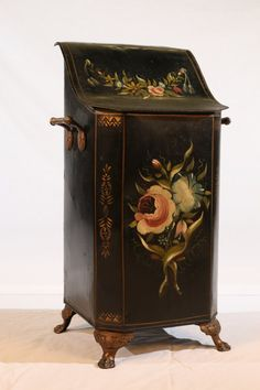 """Victorian Tole Coal Scuttle, painted floral, 9"""" square x 22"""" tall"""