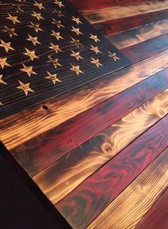 DIY Furniture Plans & Tutorials : Old Glory Battlefield Flag Wooden American Flag Sign Rustic Decor Burned Fla