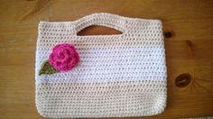 A crochet handbag