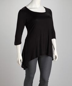 Another great find on #zulily! Black Sidetail Tunic - Plus by GLAM #zulilyfinds