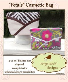 Petals Cosmetic Bag - Free Sewing Pattern by Cozy Nest Designs