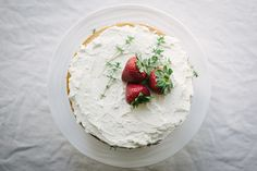 Strawberry, Thyme + Peach Buttermilk Cake With Mascarpone Whipped Cream — Pixels + Crumbs