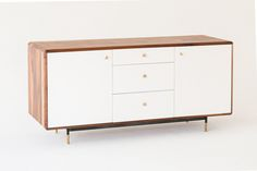 Mandelbrot Credenza, in white, polished brass and solid walnut