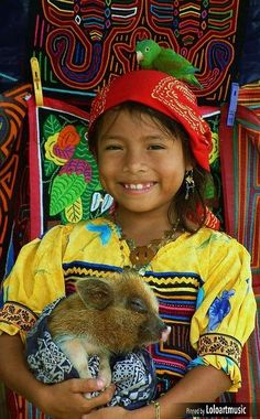 Kuna girl, Panama Girl with a pig for Savannah.