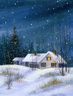 Chery Johnson – Last One Up inches – Description: Cozy farmhouse in the … – Sharon Wells - Winter Art