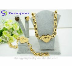 45cm length Mother Gift Heart Shape O Chain Pendant Earring and Bracelet and Necklace Gold Plated Stainless Steel Jewelry Set