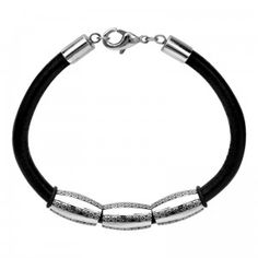 Stainless Steel Pattern Leather Cord Bracelet