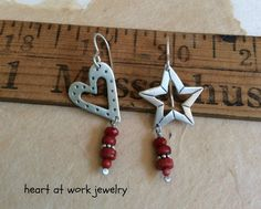 Heart & Star Earrings Mismatched Pair of door heartatworkjewelry