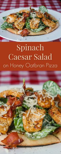 Spinach Caesar Salad on Honey Oatbran Pizza - with Lemon & Bacon Glazed Chicken; a very delicious and satisfying combination for either lunch or dinner.