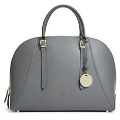 GUESS Lady Luxe Dome Satchel ($119) ❤ liked on Polyvore featuring bags, handbags, grey, gray bag, gray handbags, gray purse, dome satchel and guess purses