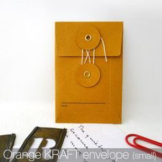 Small KRAFT Envelope with String (Orange)