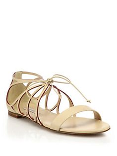 Casadei - Butterfly Cut-Out Leather Sandals