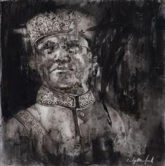 charcoal drawings of Paris   Cindy Bernhard, Farrakhan, charcoal on mylar, 10 x 10, 2012