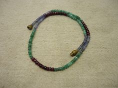 """Natural Ruby , Emerald , Blue Sapphire Rondelle Facet Gemstone 15.5"""" Necklace…"""