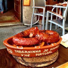 Chourico Assado, Portuguese Flamed Chorizo in Porto