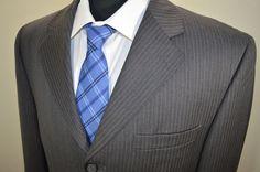 Mint Pronto Uomo mens gray wool 3btn striped sport coat blazer 40R 40 regular #ProntoUomo #ThreeButton