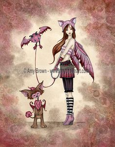 """""""Phoebe's Beasties"""" PRINTS-OPEN EDITION - Beasties and Stitchlings - Amy Brown Fairy Art - The Official Gallery"""