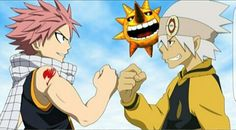 Natsu, Soul, Fairy Tail, Soul Eater, crossover; Anime
