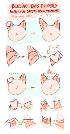 How to properly draw floppy  ears Animal Sketches, Art Drawings Sketches, Animal Drawings, Cute Drawings, Cartoon Drawings, Drawing Techniques, Drawing Tips, Cat Drawing Tutorial, Eye Tutorial