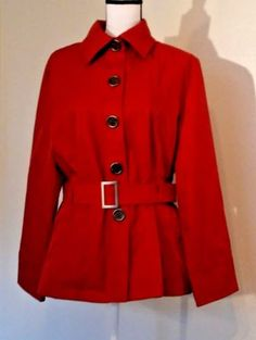 Weatherproof-Garment-Co-Women-039-s-Coat-Size-Large-L-Red-Trench-Belted-Short-NWOT