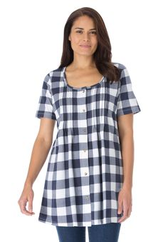 Top in soft buffalo plaid knit, tunic length with pintucks | Plus Size Tops & Tees | Woman Within