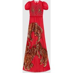 Gucci Tiger Embroidered Tulle Gown ($29,000) ❤ liked on Polyvore featuring dresses, gowns, red, red sequin gown, embroidery dresses, red evening gowns, embroidered dress and red sequin dress