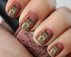 Nail Decals Vintage Owl Water Nail Decals 24 door lavitaebella1986, $4.50