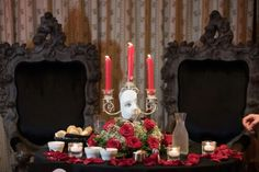 Phantom of the Opera theme wedding table setting Leonards Palazzo 12 13 15 Erin and Carlo wedding