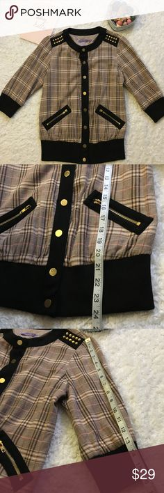 Sugar Lips jacket In excellent condition. No rips or stains. Button closure. Has 2 pockets. Very cute. Measurements are above in pictures Sugarlips Jackets & Coats