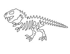 Dinosaur skeleton pattern. Use the printable outline for crafts, creating stencils, scrapbooking, and more. Free PDF template to download and print at http://patternuniverse.com/download/dinosaur-skeleton-pattern/