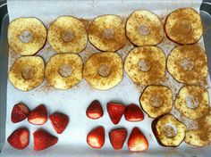 Omnitrition P2 approved fruits: Apple chips- core and slice thin, place on parchment paper on baking sheet, sprinkle with cinnamon and bake at 275 for 2 hours, flipping halfway through and checking every 30 mins Candy strawberries- 210 degrees for 3 hours on parchment paper on baking sheet #omnitrition #omnidrops