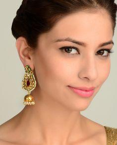 Ornate Earrings with Jhumki Drop  by Nidhaan